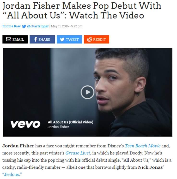 Jordan Fisher Idolator All About Us Debut