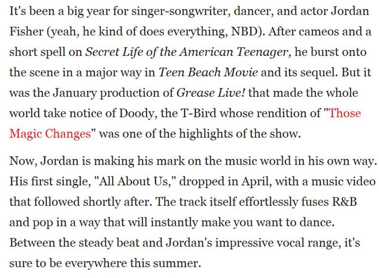 Jordan Fisher Teen Vogue Article Clipping